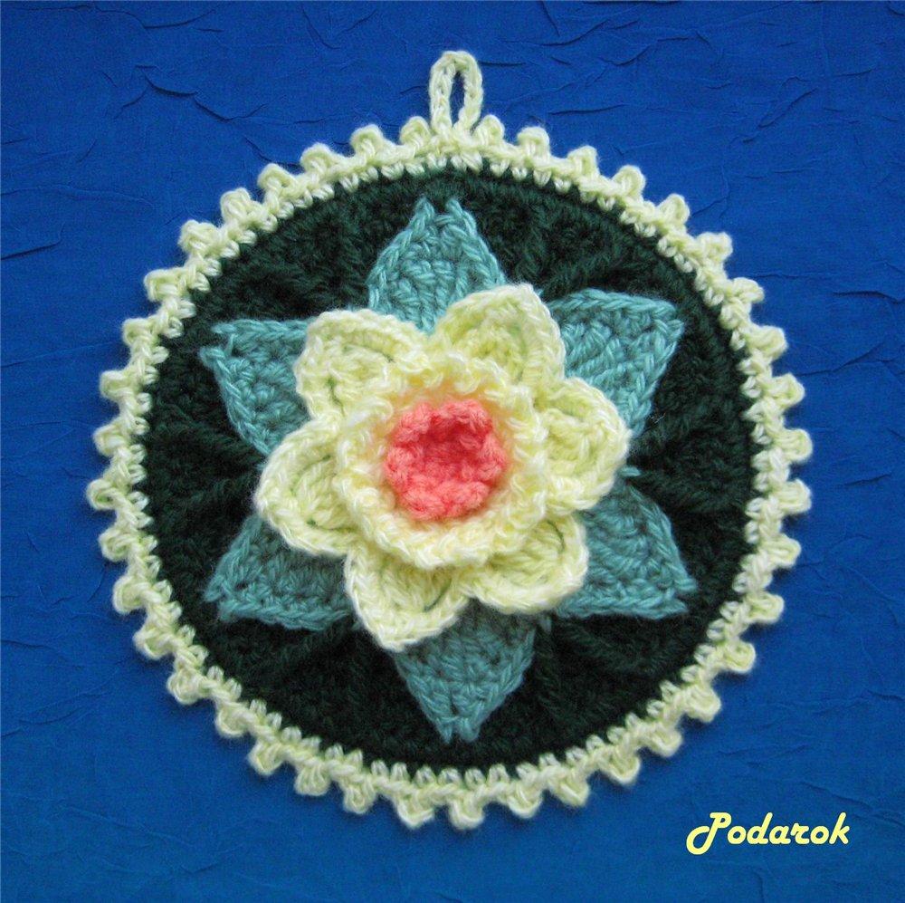 Вязание крючком прихватки с цветами 22