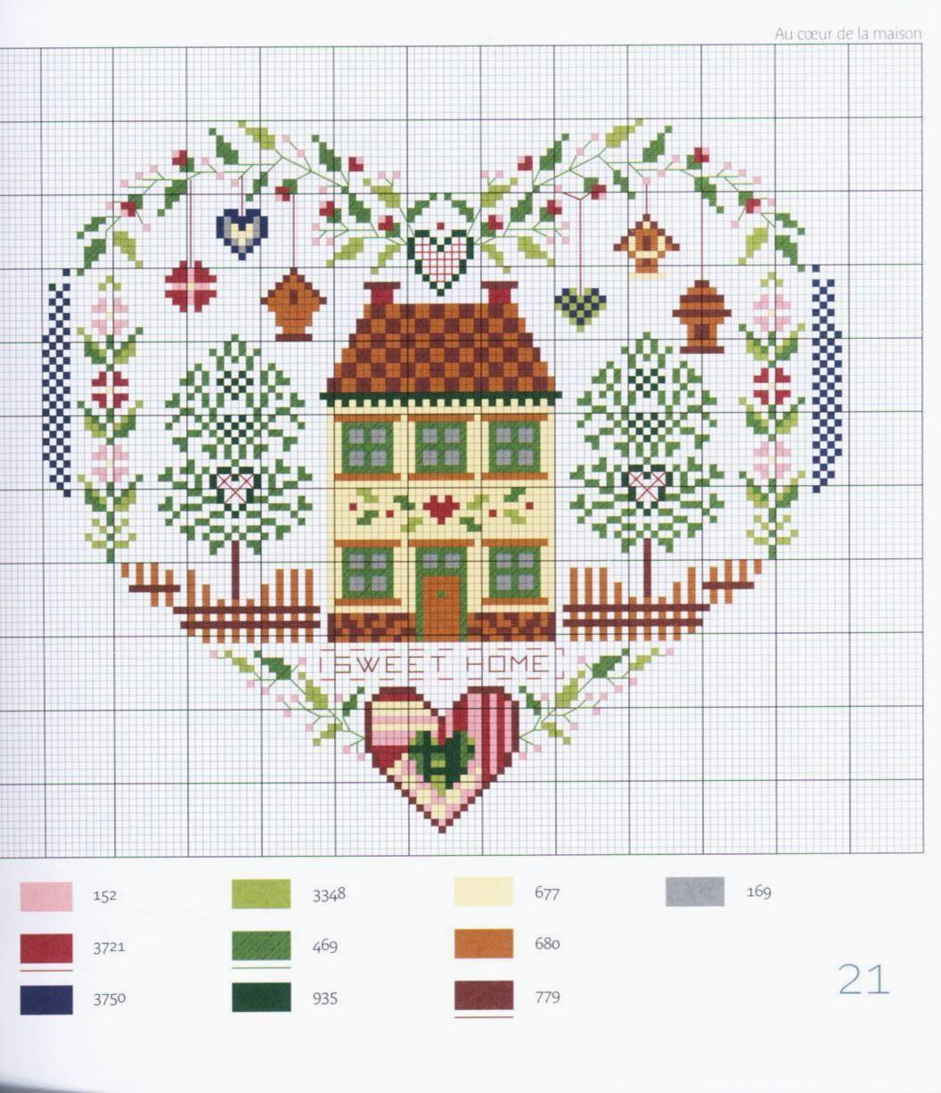 Схему вышивки домика 64