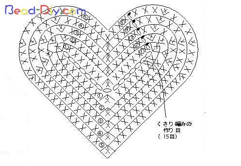 Схема объёмного сердечка крючком