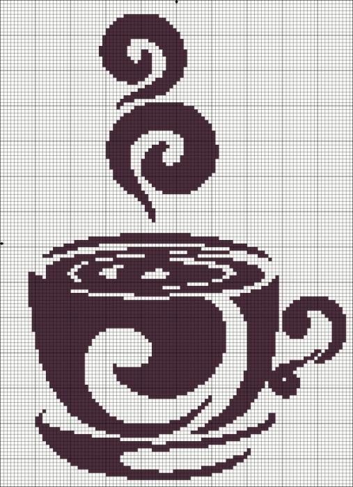 вышивка чашка кофе